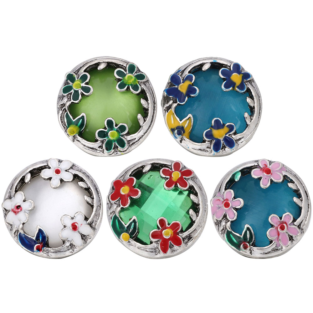 10pcs/lot 2019 Snap Button Jewelry Metal Snap Buttons Fit Hollow Box Flower 18mm Snap Bracelet Bangles Women DIY Snap Jewelry
