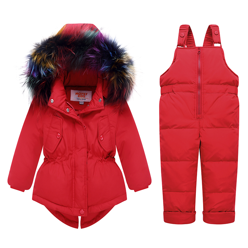 2019 Russian Winter children clothing sets Warm duck down jacket for baby girl children's coat snow wear kids suit Fur Collar-in Down & Parkas from Mother & Kids