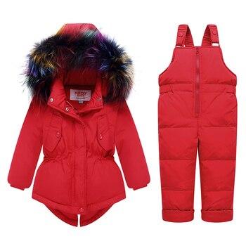 2019 Russian Winter children clothing sets Warm duck down jacket for baby girl children's coat snow wear kids suit Fur Collar