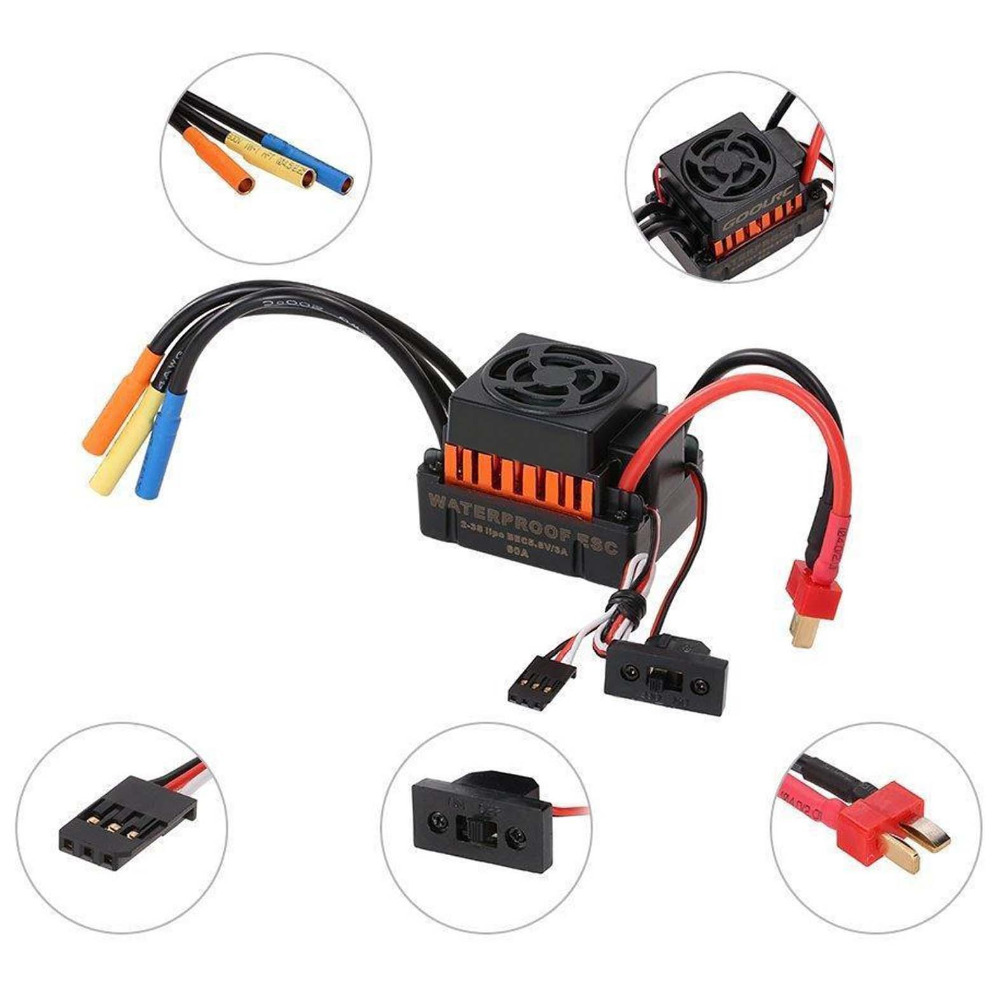 Hobbypower Étanche 60A ESC Brushless Speed Controller 2-3 S pour 1/12 1/10 RC Voiture Buggy