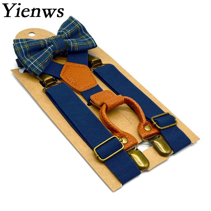 Yienws Children Baby Bow Ties And Suspenders Pink Navy Suspenders Boys Pant Strap Tirantes Bebe Bretelles Enfant YiA138