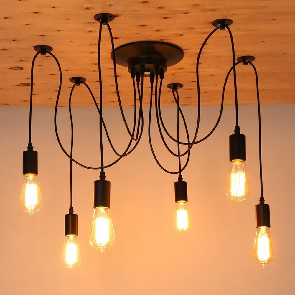 Sanyi Vintage Nordic Spider Pendant Lamp Multiple Adjustable Retro Pendant Lights 6/8/10/12/14 heads pendant lights vintage multiple adjustable wire diy ceiling spider pendant lighting 12 14 heads with e27 lamp holder for home bar hotel