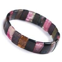 Натуральная красочная Турмалин Кварц Кристалл прямоугольная бусина стрейч женский браслет для запястья