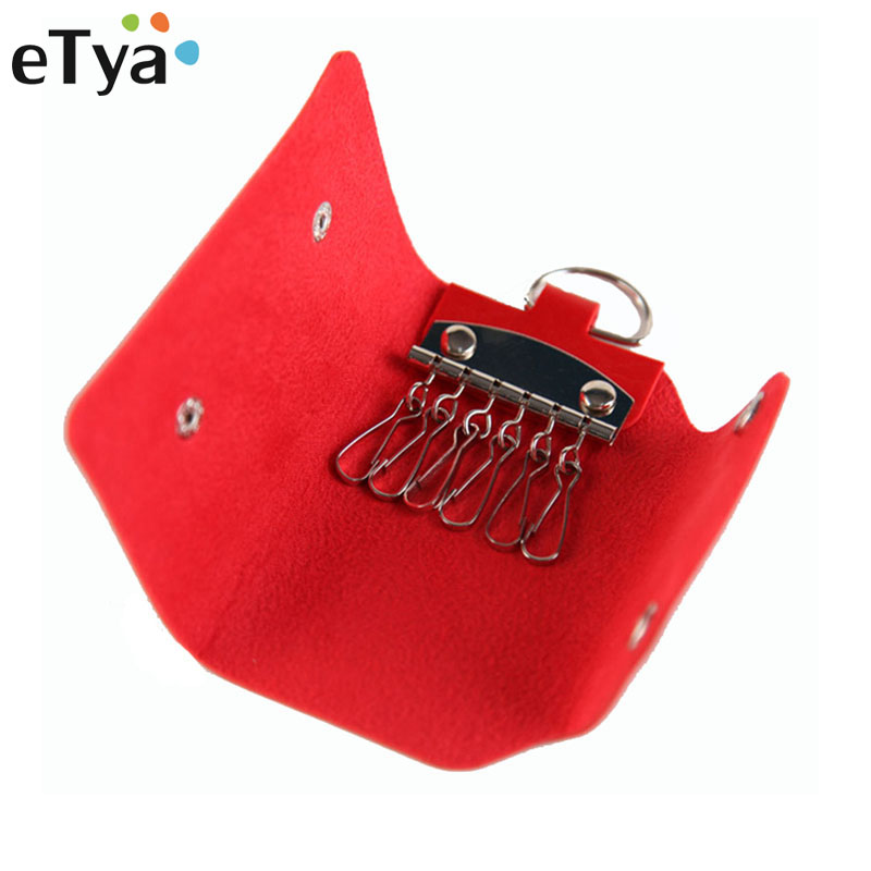 eTya Fashion Women Men Key Holder Wallet High Quality PU Leather Unisex Key Wallets Organizer Bag Keys Housekeeper Wallet