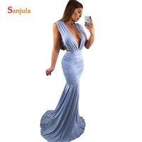 Sexy Deep V neck Long Party Dress For Wedding Mermaid Floor Length Long Blue Bridesmaid Gowns Robe De Soiree Femme