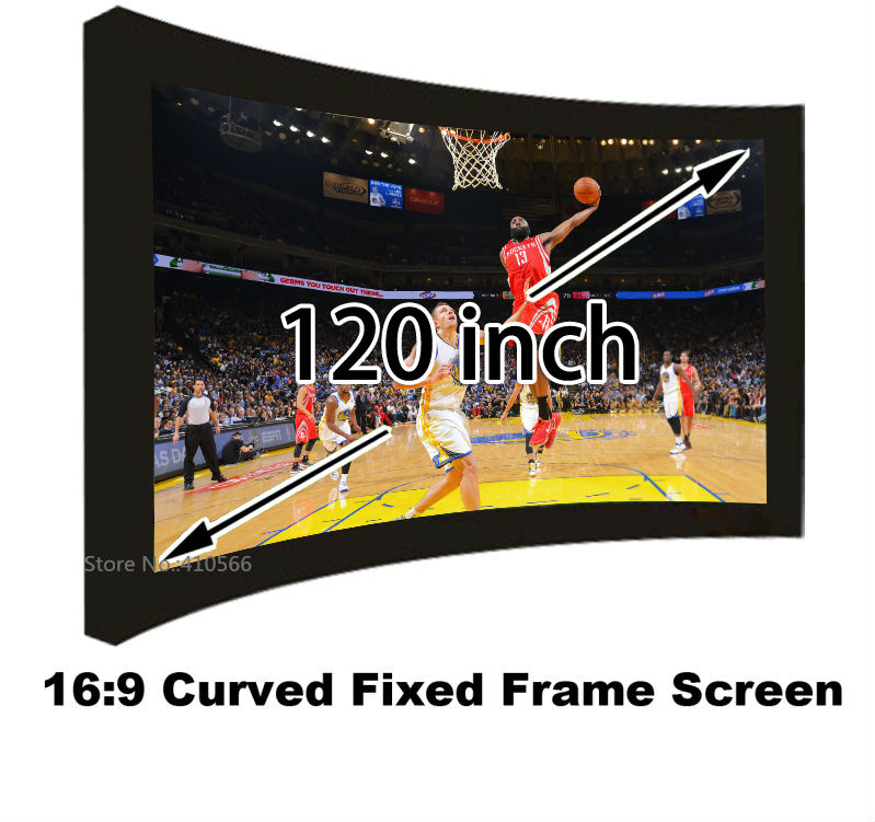 120 Inch HD Curved Fixed Frame Projection Screen Film 16:9 Best For 3D Home Cinema Projector Screens Fabric With Black Velevt korean children dress girls summer 2015 new short sleeved knee length kids clothes princess pure grey ruched dresses page 2