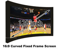 120 Inch HD Curved Fixed Frame Projection Screen Film 16:9 Best For 3D Home Cinema Projector Screens Fabric With Black Velevt