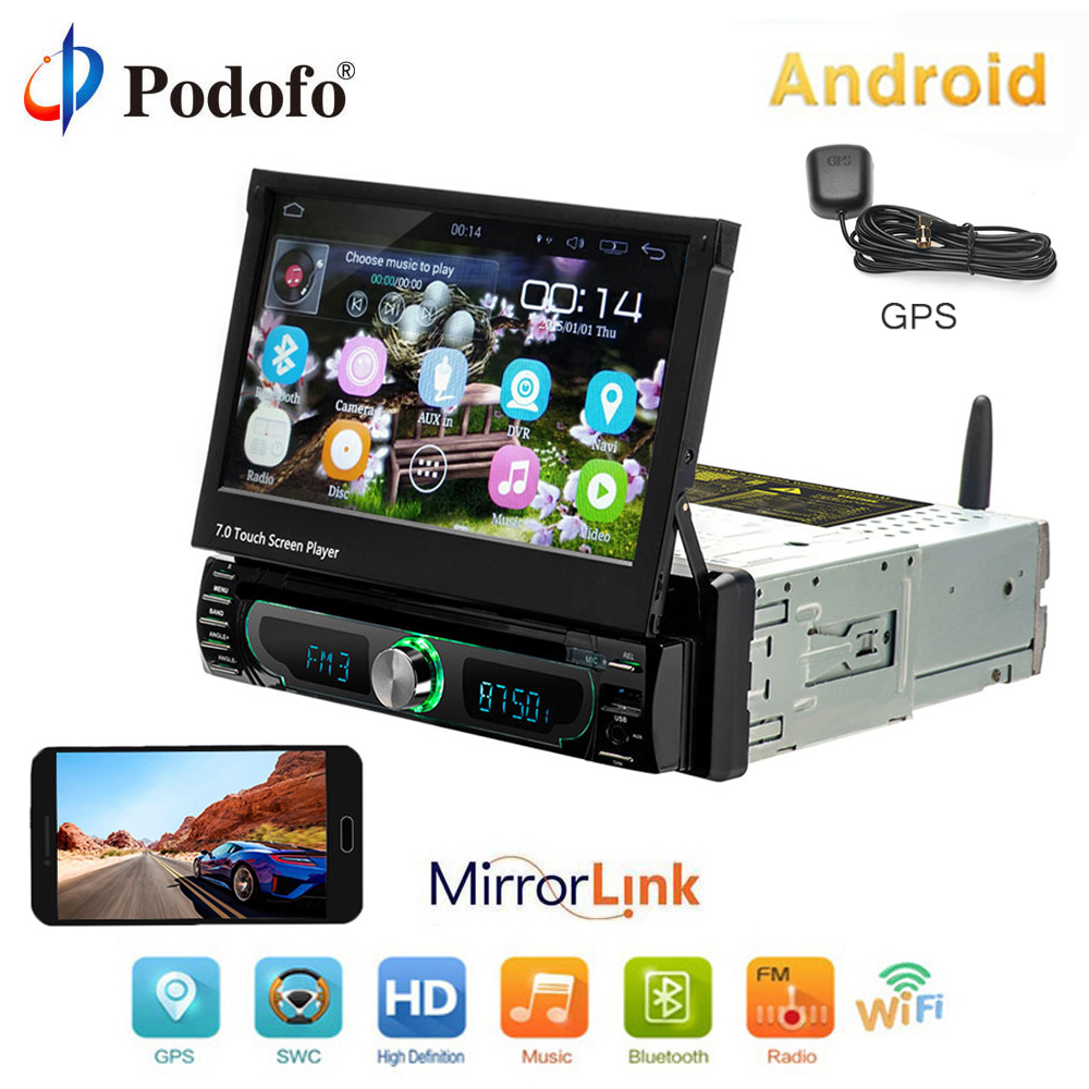 Podofo 10.1 Android Multimedia CD/DVD Player GPS Navigation Car Radio Stereo 1din Universal Autoradio WIFI Bluetooth FM AM USBPodofo 10.1 Android Multimedia CD/DVD Player GPS Navigation Car Radio Stereo 1din Universal Autoradio WIFI Bluetooth FM AM USB
