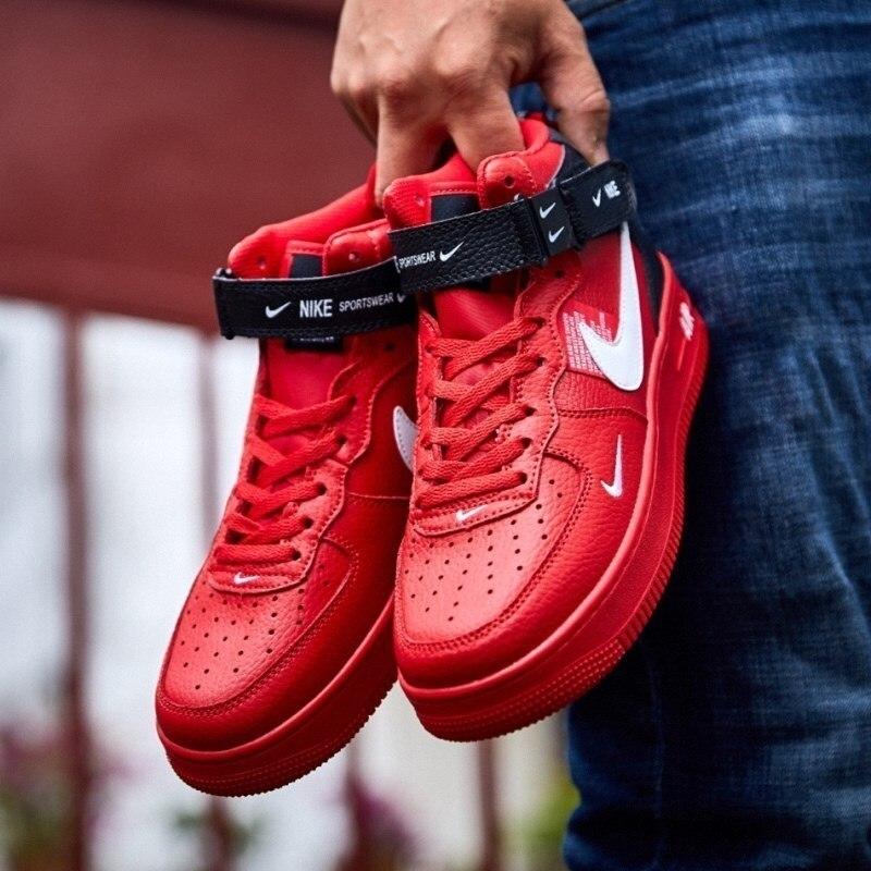 NIKE AIR FORCE 1 Original Men Skateboarding Shoes Air Cushion Anti Slippery Red Origianl Sneakers 804609 605