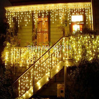 4x0.6 메터 코르 드 LED 요정 크리스마스 조명 방수 문자열 휴일 커튼 웨딩 화환 Luci Natale 하늘에 불빛이 Decorativas