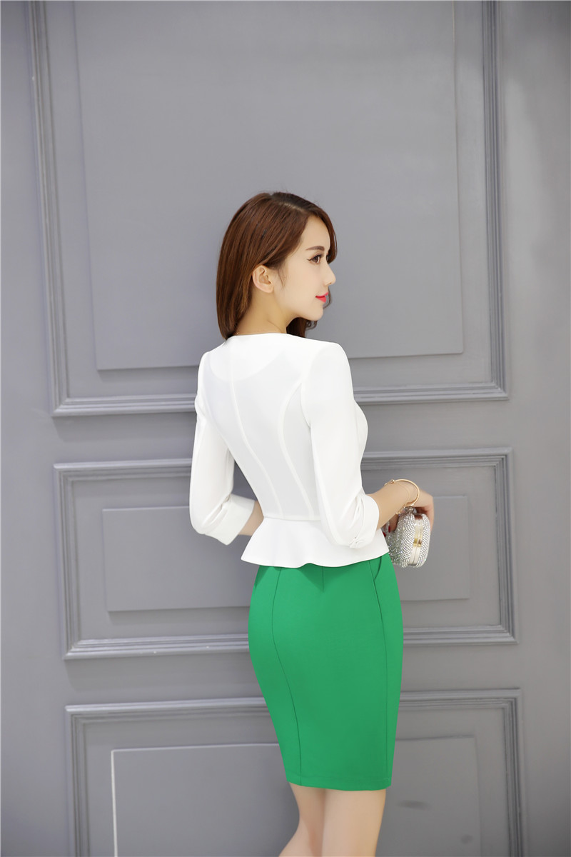 Formal Trabajo Ropa Para Uniformes Y Conjuntos Negro Chaqueta Vestido Negocios blanco Blanco De Estilos Mujeres verde rvTErq