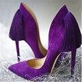 Sexy Back Fringe Mujeres Bombea zapatos de Tacón Alto Púrpura Azul Rojo de La Boda zapatos de Mujer 2016 Del Dedo Del Pie Puntiagudo Zapatos de Las Mujeres Zapatos de Mujer Tamaño Grande