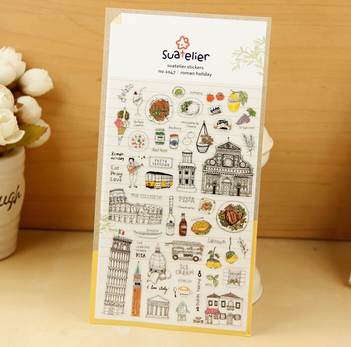 Retro Style Rome Vacations Decorative Sticker Diary Album Label Sticker DIY Scrapbooking Stationery Stickers Escolar
