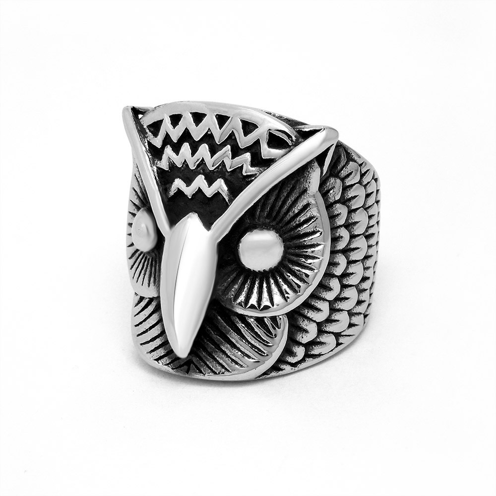 Free Shipping Hot New Fashion Wholesale Retro Style OWL Ring Fashion Men's Stainless Titanium Steel rings