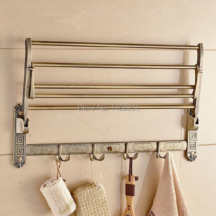 Bathroom Shelves Solid Brass Golder Wall Mount Folding Bath Shelf ...