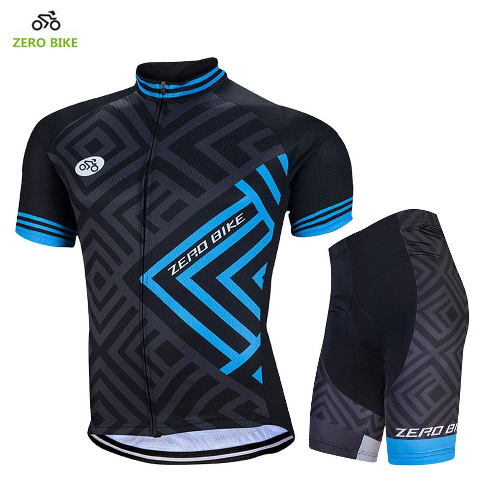 ZERO BIKE Nova moška športna kolesarska oblačila na prostem Ropa Ciclismo Kolesarska majica + dihalne tesne kratke hlače 4D Gel Padded M-XXL