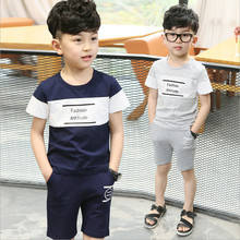 Wholesale / 4 Sets Summer Boys Clothes Sport Set Fashion Casual O-neck Children's Clothing Sets For Height 90-120cm