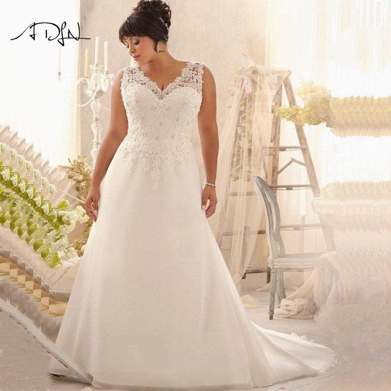 Cheap plus size wedding dresses v neck appliqued beaded for Plus size beaded wedding dresses
