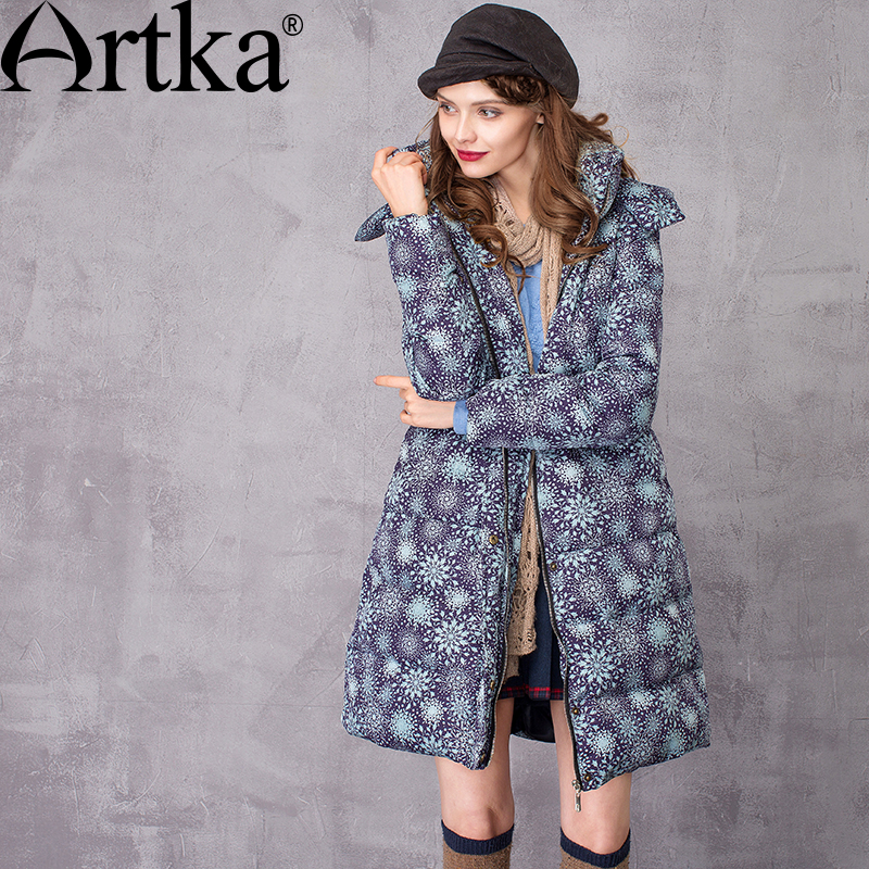ARTKA Female Parka Winter Women's Down Coat 2018 Long Warm Parka With Natural Fur Ladies Raincoat Hooded Outerwear ZK10369Q