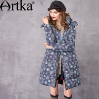 Artka Women S Winter New Floral Printed White Duck Down Coat Vintage Hooded Raccoon Fur Collar