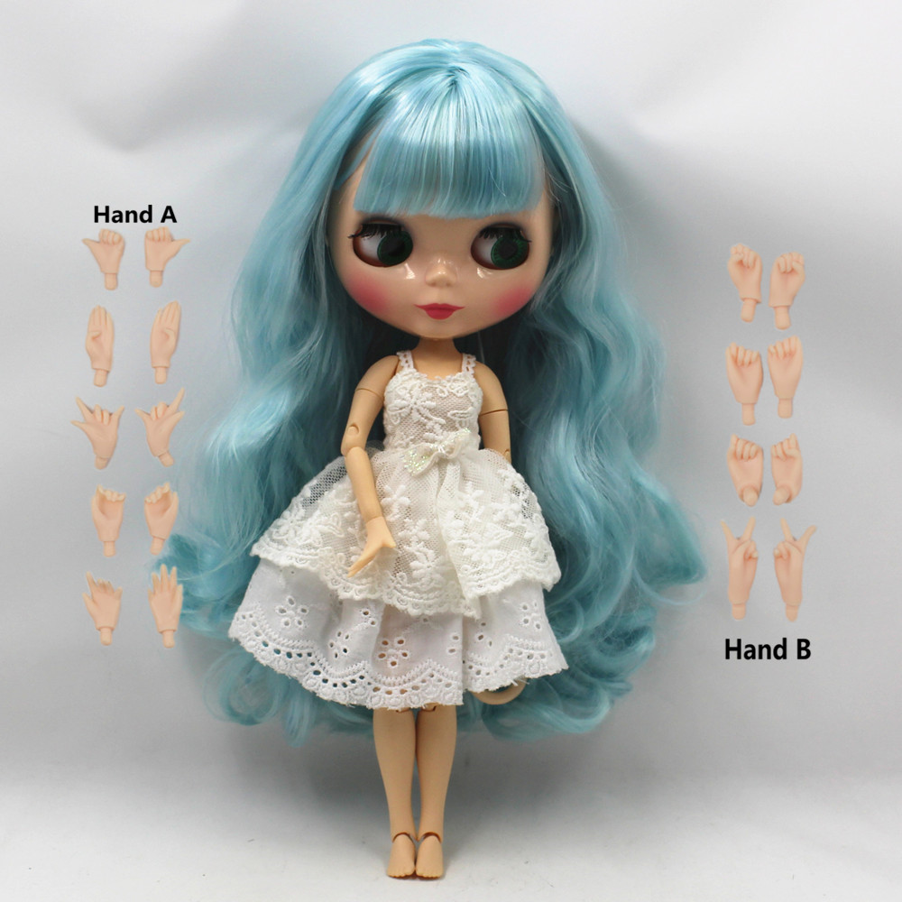 blue curly long hair green mix blue with bangs joint body nude doll suitable for change DIY 280BL6005/4006 purple curly long hair with bangs normal body nude doll suitable for change diy 280bl732 117