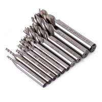 10pcs 4 Flute End Mill Set HSS Aluminum Drill Bits Wood Milling Cutter Mayitr CNC Engraving