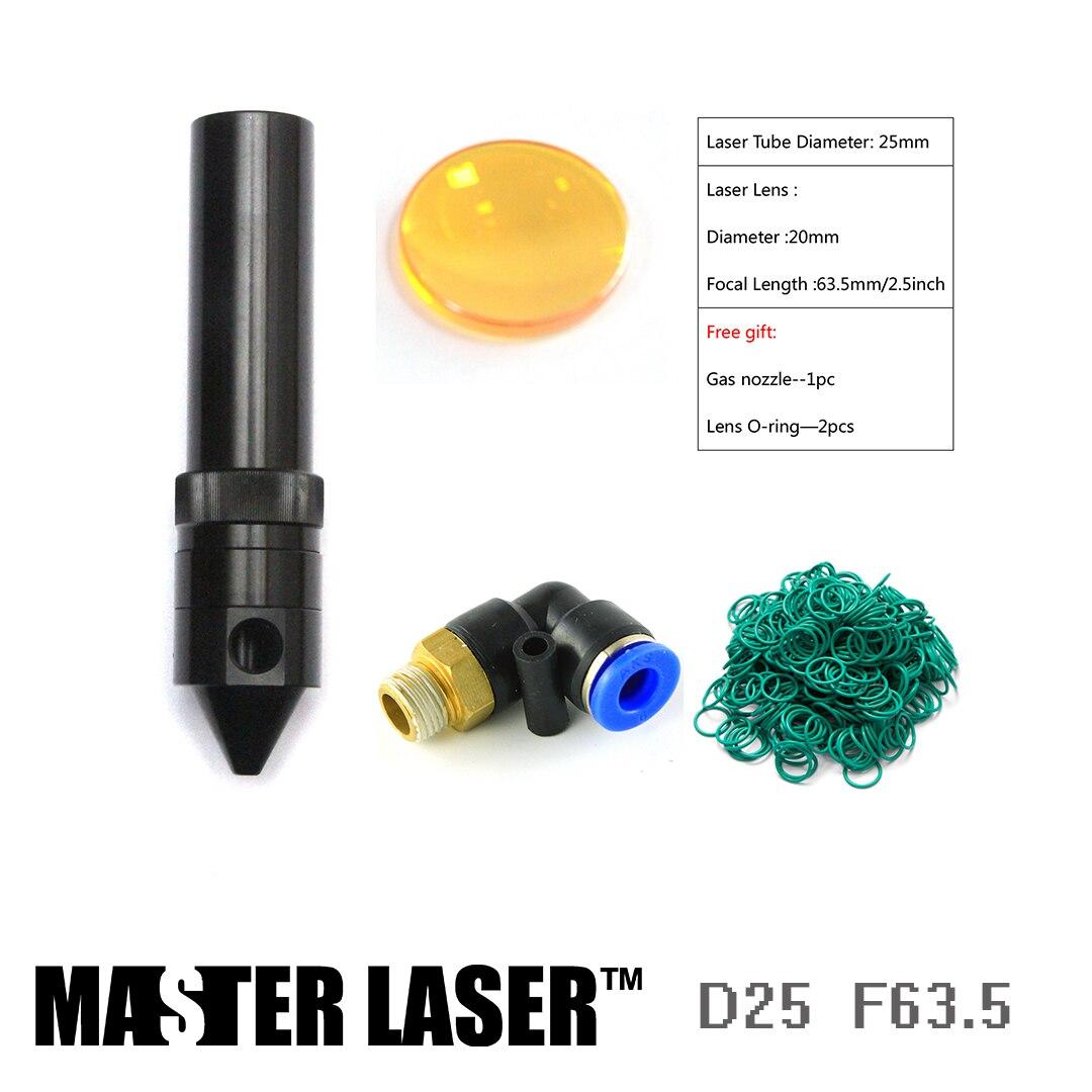 Dia20mm FL63.5mm Focus Lens D25mm Laser Head Tube For CO2 Laser Cutting Machine
