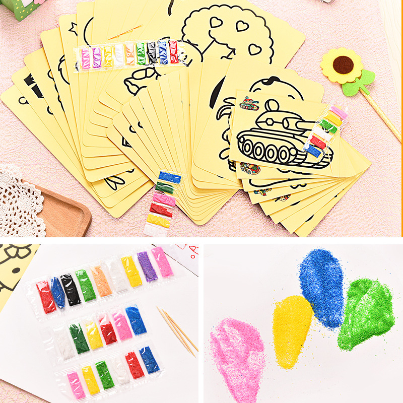 20PCS/LOT Multi specification Children Kids Drawing Toys Sand Painting Pictures Kid DIY Crafts Education Toy Pattern Random 5 10pcs sand painting handmade colored cartoon drawing toys sand art kids coloring diy crafts learning sand art painting cards