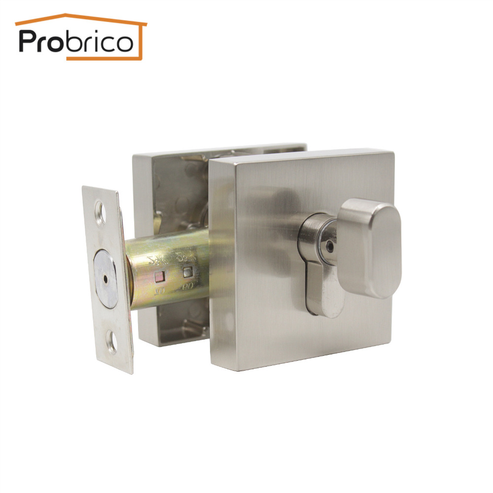 Probrico Square Shape Door Home Locks Deadbolt Lock Dead Key With Button Modern Transitional Style Zina Alloy Gate Hardware