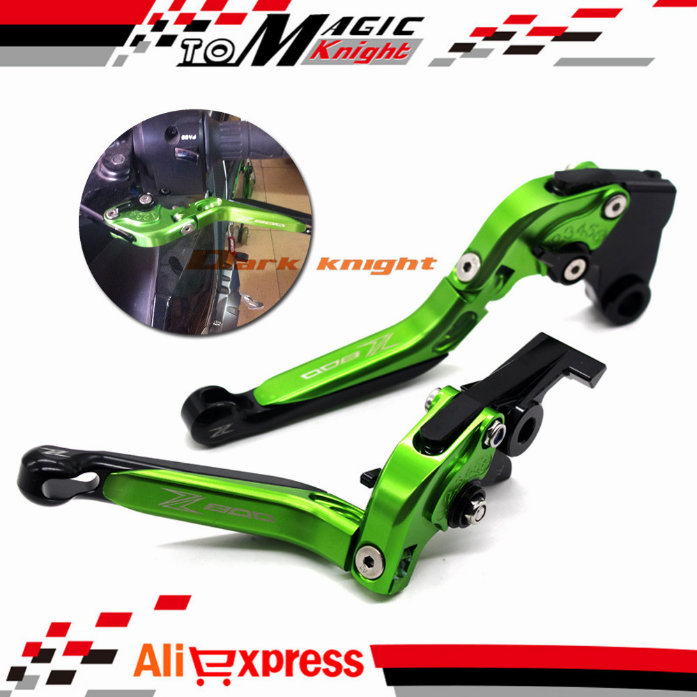 For KAWASAKI Z800 2013-2016 Motorcycle Accessories Adjustable Folding Extendable Brake Clutch Levers LOGO Z800 Green