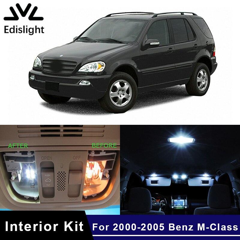 Edislight 15Pcs Canbus LED Lamp Car Bulbs Interior Package Kit For 2000-2005 Mercedes Benz M-Class ML350 W163 Door Plate Light
