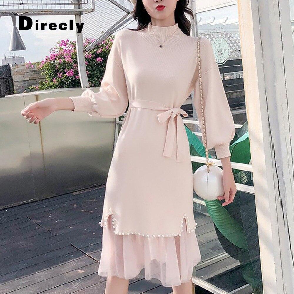 Direcly2018 herbst und winter neue frauen ins mode pullover kleid Hong Kong stil perle net zwei stück stricken kleid weibliche-in Kleider aus Damenbekleidung bei  Gruppe 2
