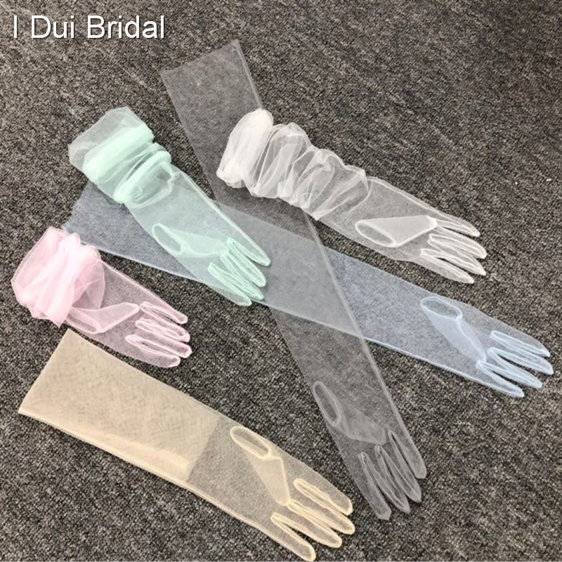 Sheer Tulle Gloves Wedding Bridal Gloves Elbow Long 9 Color Photo Shooting Accessory Halloween Gloves DIY Nail Gloves