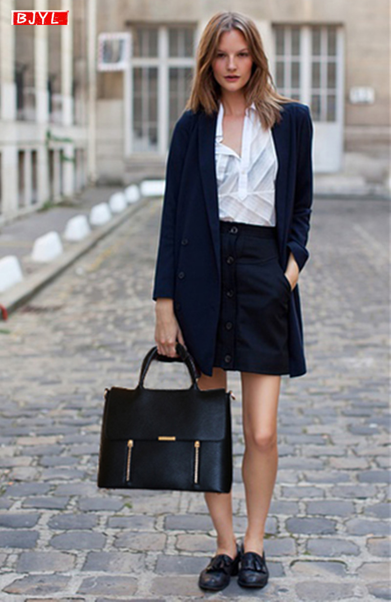 Luxury Fashion Business Women Briefcases Soft Leather Handbag Female Laptop Computer Shoulder Bags Large-capacity Briefcase