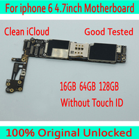 Original unlocked For iphone 6 4.7inch Motherboard 16GB 64GB 128GB with IOS System for iphone 6 Logic board without Touch ID