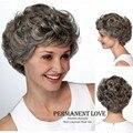 Серый Вьющиеся короткий Парик с челкой мода Жаропрочных синтетический серый прически волос парики для старых женщин парики партии парик