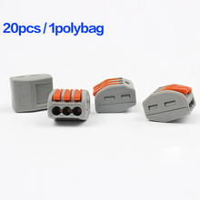20pcs 3 pin universal compact wire connector PCT-213 Terminal wire connector 3 wire connector to fast block 60pcs new type pct 212 213 214 20pcs 2p 20pcs 3p 20pcs 4p universal compact wire connector conductor terminal block