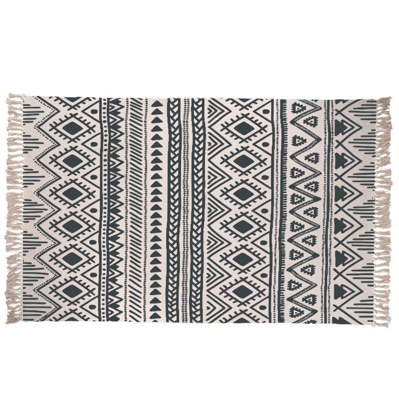 Hand Woven Rhombus Cotton Carpet Machine Washable Non Slip Durable Kitchen Rugs Handmade Geometric Printed Bedroom Floor Mat