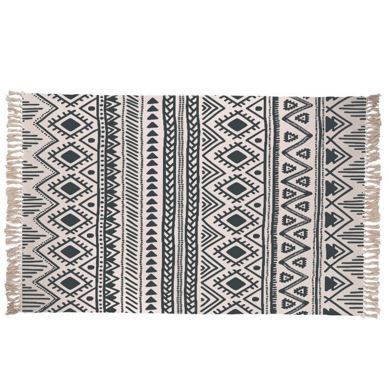 Tapis en coton Rhombus tissé à la main lavable en Machine anti-dérapant Durable tapis de cuisine fait à la main géométrique imprimé tapis de sol de chambre