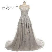 Elegant A Line Beading Evening Dresses 2016 Appliques Sleeveless Chapel Train Vestido De Festa Longo Tulle