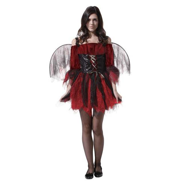 Online Shop Adult Halloween costumes sexy red and black female angel adult  red devil costumes  42ef977bce