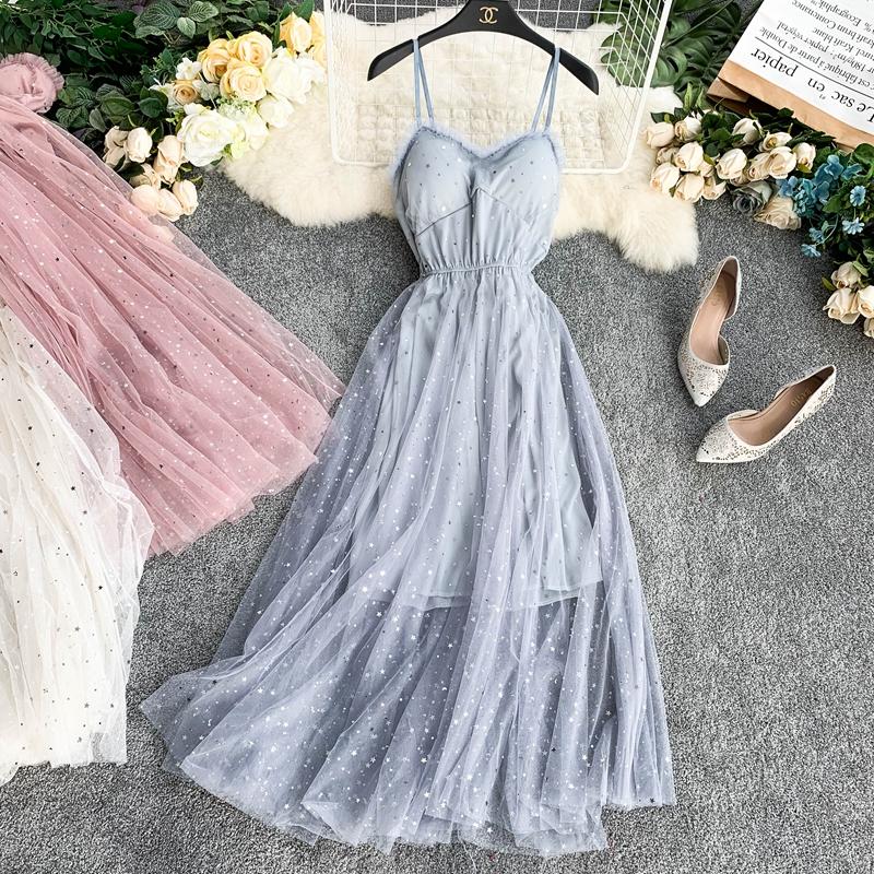 Sequins V-Neck Gauze Ruffles Mesh A-Line Dress 11