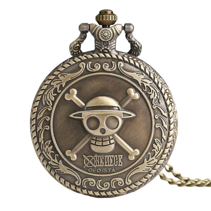 Antique Style Bronze Pirate Skull One Piece Quartz Retro Pocket Necklace Watch Xmas Vintage Retro Women Men Pendant Steampunk