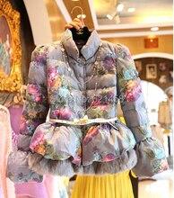 Newest Women Flower Printed Cotton Wadded Jacket Coat Winter Lantern Sleeve Rabbit Fur Patchwork Print Down Slim Outerwear Coat
