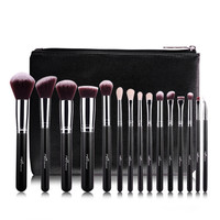 MSQ 15Pcs 1 Set Pro Makeup Fiber Hair Brushes Makeup Brush Kit Cosmetic Tool With PU
