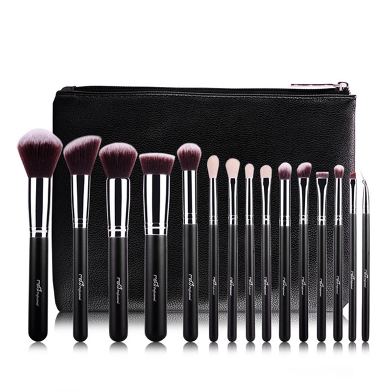 MSQ 15Pcs/1 Set Pro Makeup Brushes Set Wood Handle Fiber Hair Make up Brush With PU Leather Case Cosmetic Beauty tool msq professional 15pcs makeup brushes set soft synthetic hair natural wood handle with pu leather case for beauty fashion tool