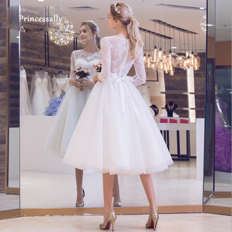 Wedding-Dress Bride-Gown Tea-Length Elegant Fashionable Illusion Three-Quarter-Sleeve title=