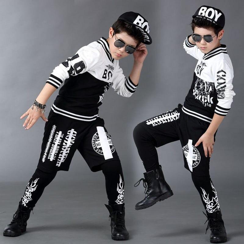 ФОТО 2016 boy clothing set spring autumn kids  suits faux two pieces hip hop harem pants & black white sweatshirt twinset