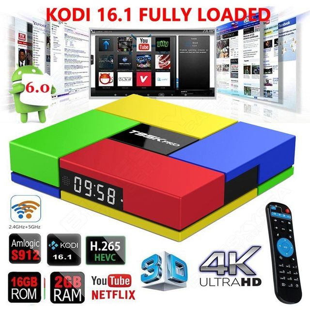 Free shipping! T95KPRO 2G + 16G S912 Smart 1000M Android 6.0 Arabic iptv BOX Octa Core KODI 16.1 HEVC 4K Media Player