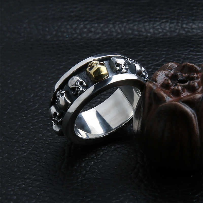 Venta al por mayor 100% anillo de Plata de Ley 925 pura Real. Anillo de plata tailandesa con diseño de calavera retro, envío gratis, joyería para hombre HYR08
